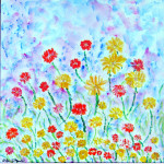 impressionist floral, wildflowers of arizona, african daisies